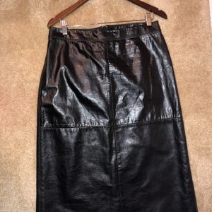 Straight leather pencil skirt